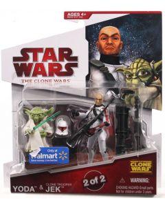 2009 Clone Wars Clone 2-Pack Carded Yoda & Clone Trooper Jek