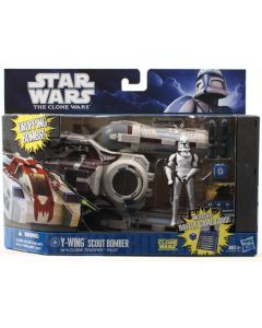 2011 Clone Wars Deluxe Boxed Y-Wing Scout Bomber with Clone Pilot C-9