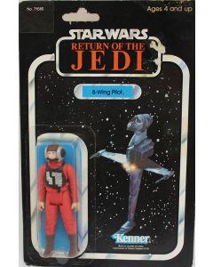 Vintage Star Wars Carded ROTJ B-Wing Pilot Action Figure // C5 Sticker Tears