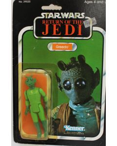 Vintage Star Wars Carded ROTJ Greedo Action Figure // C4Y Cracked Bubble