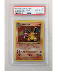 Pokémon 1999 Authentic Charizard Shadowless Base Set Holographic 1st Edition #4 PSA