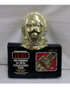 Vintage Star Wars Accessories Boxed C-3PO Carrying Case MISP C4 (plastic has a large tear)