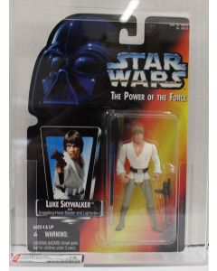 Star Wars 1996 Kenner POTF2 Red Card Luke Skywalker (Short Saber/Long Tray) AFA 75 EX+/NM #18546265