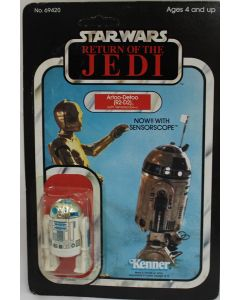 Vintage Star Wars Carded  ROTJ R2-D2 Sensorscope Action Figure // C4 Cracked Bubble