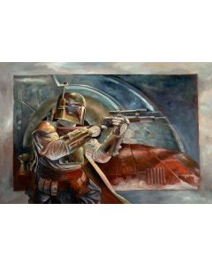 """Licensed Artwork """"Boba Fett with Slave I"""" - Giclee on Canvas (by Lee Kohse)"""