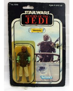 Vintage Star Wars ROTJ Carded Weequay Action Figure // C4 Yellow Bubble (Small Sticker Tear/Tape on Card)